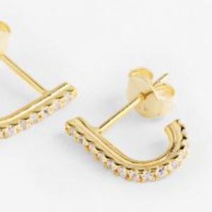Glambou 18k Gold Plated, Crystal Earrings